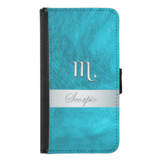 Teal Leather Zodiac Sign Scorpio Samsung Galaxy S5 Wallet Case