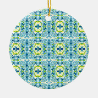 Teal Lemon Artistic Geometric Fractal Pattern Christmas Ornament