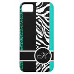 Teal Leopard and Zebra Animal Print Monogram iPhone 5 Case
