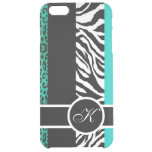 Teal Leopard and Zebra Animal Print Monogram Uncommon Clearly™ Deflector iPhone 6 Plus Case
