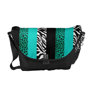Teal Leopard and Zebra Custom Animal Print Messenger Bag