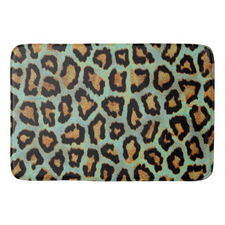 Teal leopard chic animal print bath mat