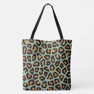 Teal leopard chic animal print tote bag