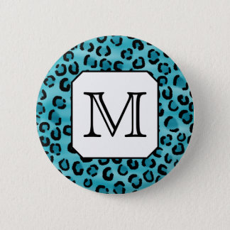 Teal Leopard Print, Custom Monogram. 6 Cm Round Badge