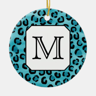 Teal Leopard Print, Custom Monogram. Christmas Ornament