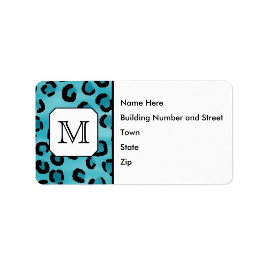 Teal Leopard Print, Custom Monogram. Label