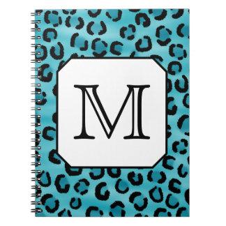 Teal Leopard Print, Custom Monogram. Notebook