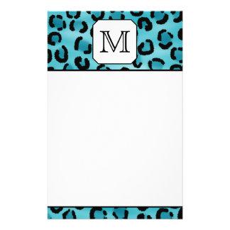 Teal Leopard Print, Custom Monogram. Stationery