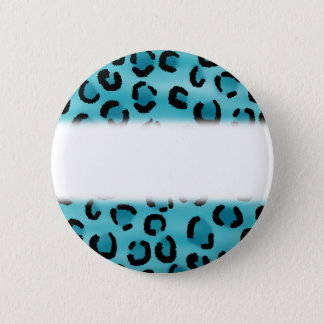 Teal Leopard Print Pattern. 6 Cm Round Badge