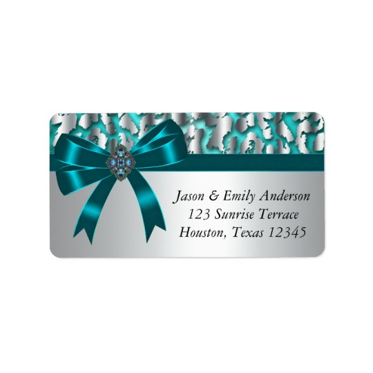 Teal Leopard Teal Bow Return Address Labels