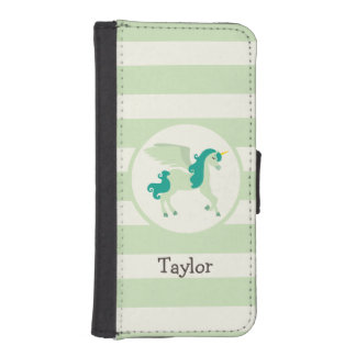 Teal & Light Green Unicorn iPhone 5 Wallets
