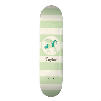 Teal & Light Green Unicorn Skateboard