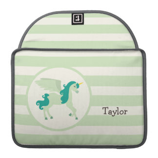 Teal & Light Green Unicorn Sleeve For MacBooks