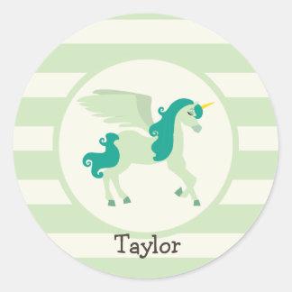 Teal & Light Green Unicorn Round Stickers