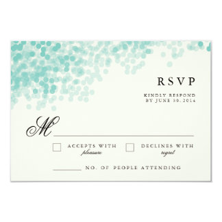 Teal Light Shower | Pretty RSVP Response Cards 9 Cm X 13 Cm Invitation Card