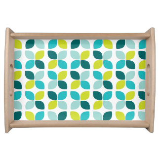 Teal Lime Green Flower Pattern Serving Tray