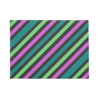 Teal, Lime Green, Hot Pink Glitter Striped Doormat