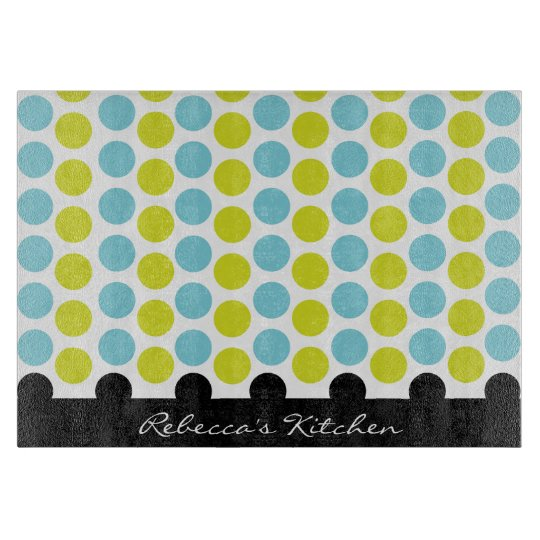 Teal & Lime Green Polka Dots Personalised Cutting Board