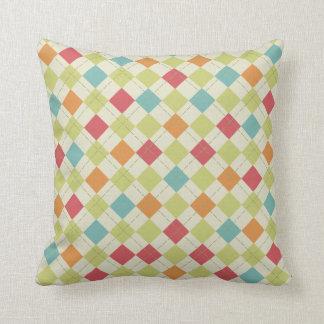 Teal, Lime Green, Red, Pink, Orange Argyle Throw Pillow