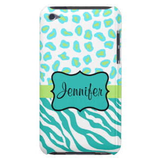 Teal Lime Green & White Zebra & Cheetah Skin iPod Touch Cover