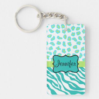 Teal Lime Green & White Zebra & Cheetah Skin Key Ring
