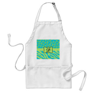Teal & Lime Green Zebra & Cheetah Personalized Apron