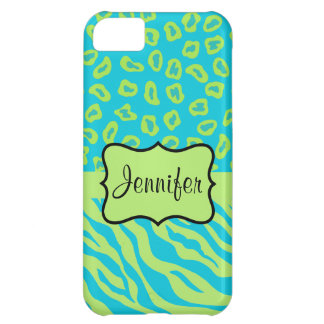 Teal & Lime Green Zebra & Cheetah Personalized iPhone 5C Case