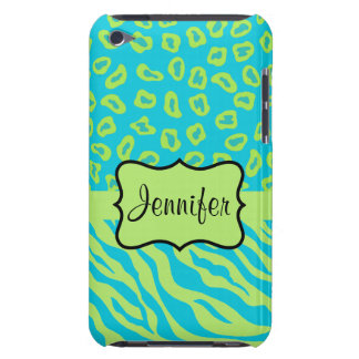 Teal & Lime Green Zebra & Cheetah Personalized iPod Touch Covers