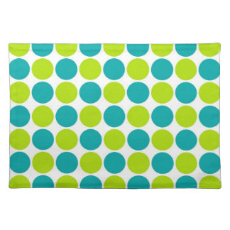 Teal Lime Polka Dots Placemats