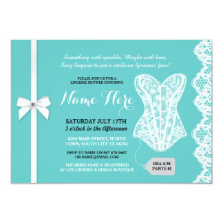 Teal Lingerie Shower Invite White Lace Bridal