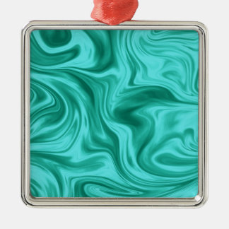 Teal Liquid Marble Silk Christmas Ornament