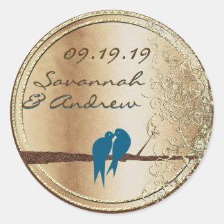 Teal Love Bird Gold Wedding Seal Round Sticker