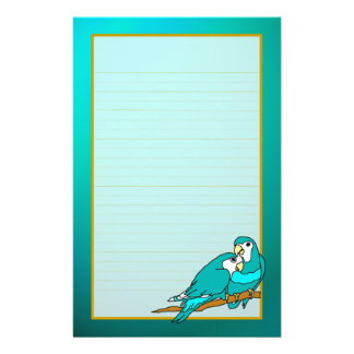 Teal Love Birds Aquamarine Fine Lined Stationery