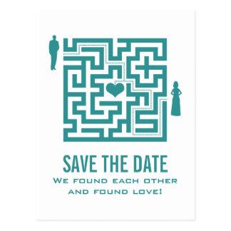 Teal Love Maze Save the Date Postcard