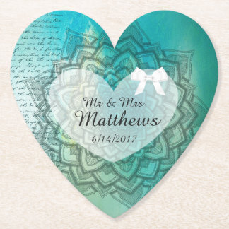 Teal Mandala Personalized Wedding Heart Coasters