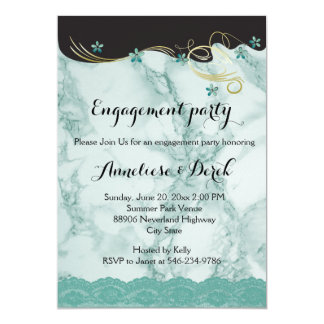 Teal Marble Party Template 13 Cm X 18 Cm Invitation Card