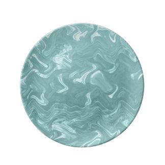 Teal Marbleing Plate