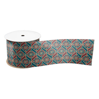 Teal, Maroon, Beige Ethnic Floral Pattern Satin Ribbon