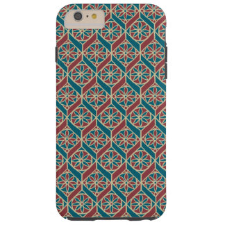 Teal, Maroon, Beige Ethnic Floral Pattern Tough iPhone 6 Plus Case