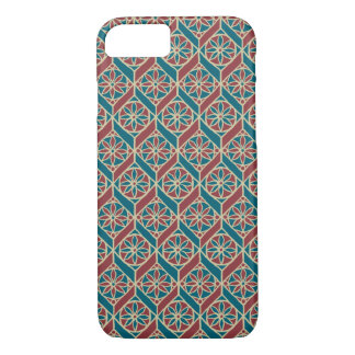 Teal Maroon Beige Ethnic Pattern Flowers, Chevrons iPhone 8/7 Case
