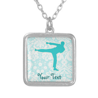 Teal Martial Arts Silver Plated Necklace