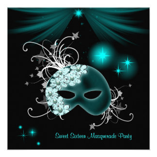 Teal Masks Sweet 16 Masquerade Party Announcement