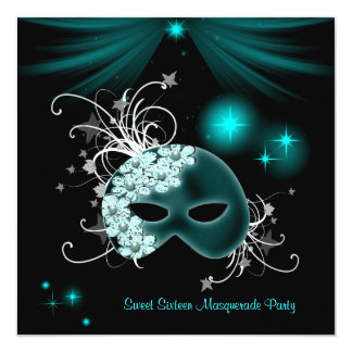 Teal Masks Sweet 16 Masquerade Party 13 Cm X 13 Cm Square Invitation Card