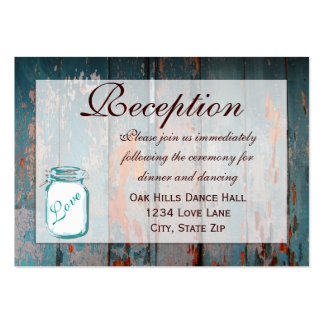 Teal Mason Jar Wood Wedding Reception Cards Pack Of Chubby Business Cards