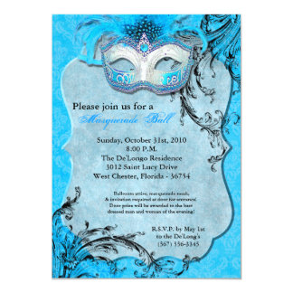 "Teal Masquerade Ball Mask Costume Halloween Part 5"" X 7"" Invitation Card"