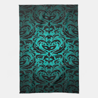 Teal Masquerade Damask Stylish Kitchen Towels