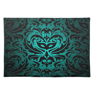 Teal Masquerade Damask Stylish Placemat