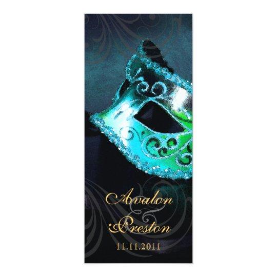 Teal Masquerade Wedding Program Invitation