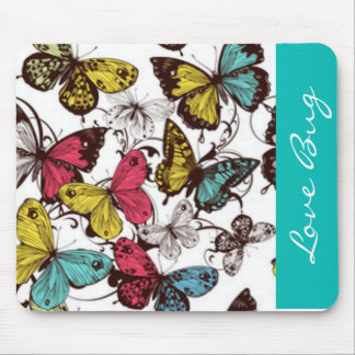 Teal Mauve Yellow Butterflies Mouse Mat
