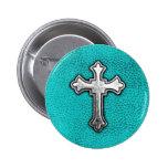 Teal Metal Cross 6 Cm Round Badge